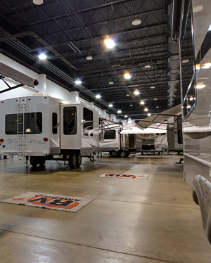 Oregon State Eugene Spring RV Show: Visitors explore the indoor motorhome exhibits in comfort and warmth